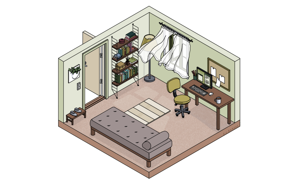 Bildebeskrivelse: tegning av et rom med et skrivebord og kontorstol, en bokhylle og en divan. Vindu og dør står åpen og gardinene blafrer.